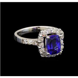 14KT White Gold 1.47 ctw Tanzanite and Diamond Ring