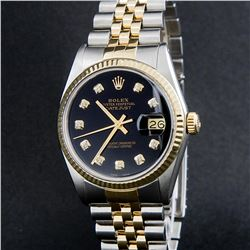 Rolex Two-Tone Black Diamond DateJust  Men's Watch