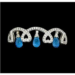 15.00 ctw Blue Topaz And Diamond Bangle Bracelet - 18KT White Gold