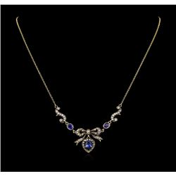 1.63 ctw Sapphire and Diamond Necklace - 18KT Yellow Gold