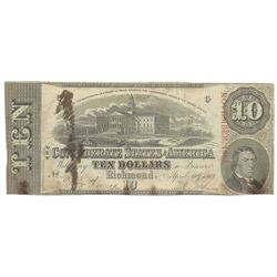 1863 $10 The Confederate States of America Note