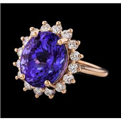 8.61 ctw Tanzanite and Diamond Ring - 14KT Rose Gold