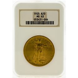 1925 NGC MS63 $20 Eagle Gold Coin
