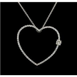 0.95 ctw Diamond Pendant With Chain - 14KT White Gold