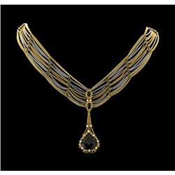 18.93 ctw Onyx and Diamond Necklace - 18KT Yellow and White Gold
