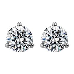 Diamond Earrings - 14KT White Gold
