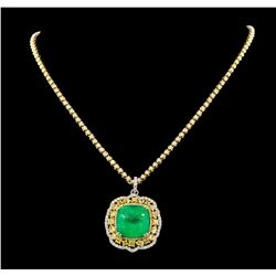 36.24 ctw Emerald and Diamond Pendant W/ Chain - 18KT Two-Tone Gold GIA Certifie