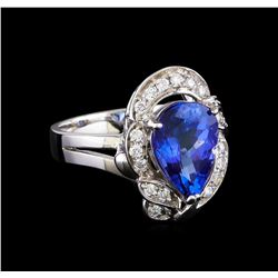 3.04 ctw Tanzanite and Diamond Ring - 14KT White Gold