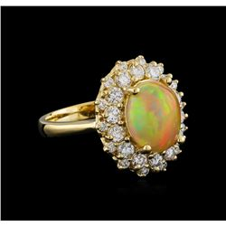 2.17 ctw Opal and Diamond Ring - 14KT Yellow Gold