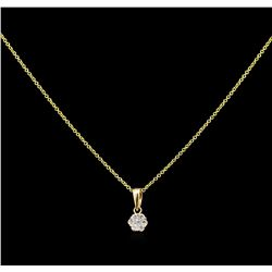 0.10 ctw Diamond Pendant With Chain - 14KT Yellow Gold
