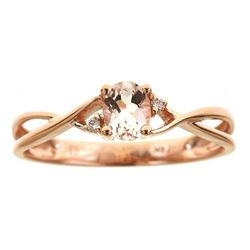 0.36 ctw Morganite and Diamond Ring - 14KT Rose Gold