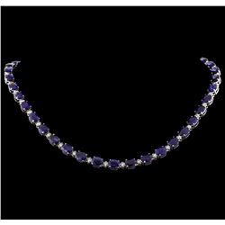 63.43 ctw Sapphire and Diamond Necklace - 14KT White Gold