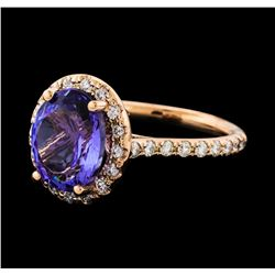 3.95 ctw Tanzanite and Diamond Ring - 14KT Rose Gold