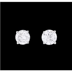 1.33 ctw Diamond Earrings - 14KT White Gold