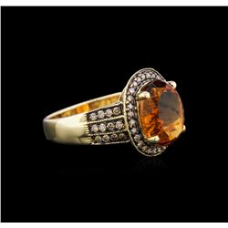 14KT Yellow Gold 5.53 ctw Citrine and Brown Diamond Ring