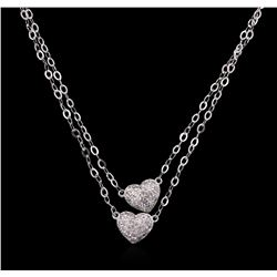 0.40 ctw Diamond Heart Necklace - 14KT White Gold