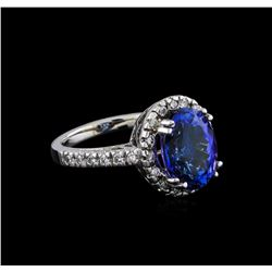 5.60 ctw Tanzanite and Diamond Ring - 14KT White Gold