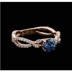 1.17 ctw Blue Diamond Ring - 14KT Rose Gold