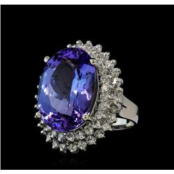 13.95 ctw Tanzanite and Diamond Ring - 14KT White Gold