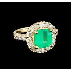 3.10 ctw Emerald and Diamond Ring - 14KT Yellow Gold