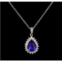 3.20 ctw Tanzanite and Diamond Pendant - 14KT White Gold
