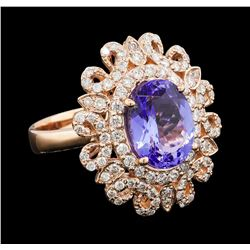 3.92 ctw Tanzanite and Diamond Ring - 14KT Rose Gold
