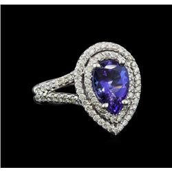 1.75 ctw Tanzanite and Diamond Ring - 14KT White Gold