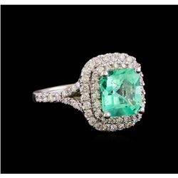 3.01 ctw Emerald and Diamond Ring - 14KT White Gold