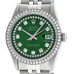 Rolex Mens 36mm Stainless Steel Green String Diamond Datejust Wristwatch