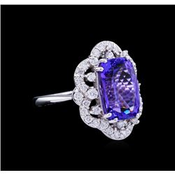 5.20 ctw Tanzanite and Diamond Ring - 14KT White Gold