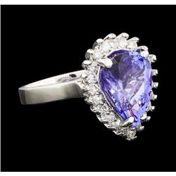 3.96 ctw Tanzanite and Diamond Ring - 14KT White Gold