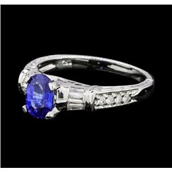 1.23 ctw Sapphire and Diamond Ring - 18KT White Gold