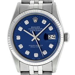 Rolex Mens 36mm Stainless Steel Blue Diamond Datejust Wristwatch