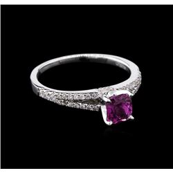 0.99 ctw Pink Sapphire and Diamond Ring - 18KT White Gold