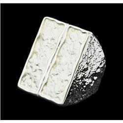 Rectangular Ring - Rhodium Plated