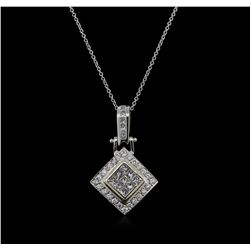 1.25 ctw Diamond Pendant With Chain - 14KT White Gold