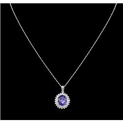 4.39 ctw Tanzanite and Diamond Pendant With Chain - 14KT White Gold