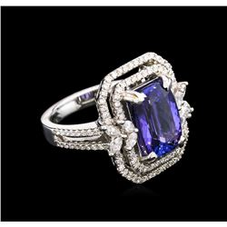 4.28 ctw Tanzanite and Diamond Ring - 18KT White Gold