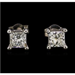 0.97 ctw Diamond Earrings - 14KT White Gold