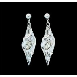 Fall Leaf Crystal Earrings - Rhodium Plated