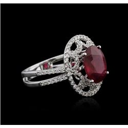 18KT White Gold 4.47 ctw Ruby and Diamond Ring