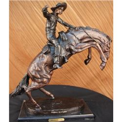 Bronco Buster Bronze Statue Cowboy Horse on Marble