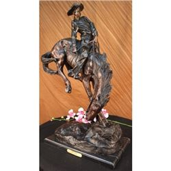 Out Law Cowboy On Horse Bronze on Marble Base Sculpture