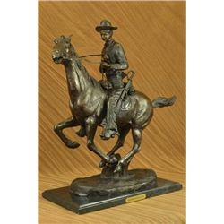 Trooper of the Plains Cowboy on Horse Bronze Sculpture