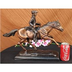 French Soldier on Horse Bronze Statue on Marble Base Sculpture