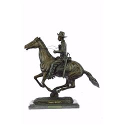 Trooper Of The Plains Bronze Sculpture On Marble Base figurine