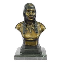 Native American Indian Warrior Chief Bronze Bust Sculpture