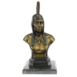 Native Indian Chief Bronze Bust Sculpture Statue
