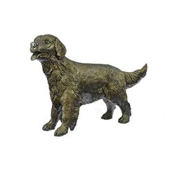 Puppy Golden Retriever Dog Bronze Statue