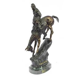 Native Indian Chief Riding Horse On A Rock Bronze Sculpture Frederic Reminigton